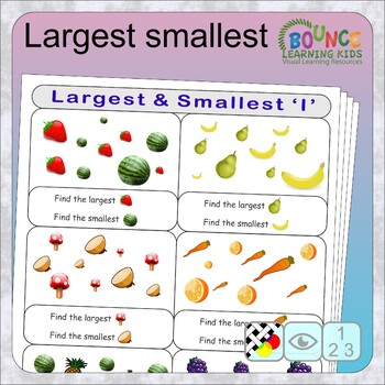 Largest and smallest (12 distance learning worksheets for Visual perception)