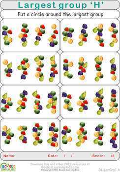Find largest group (10 distance learning worksheets for Visual perception)