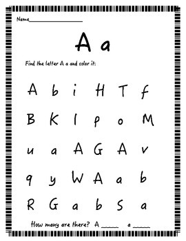 Find the letter! (Mixed lower and uppercase letters)
