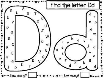 Find the letter: alphabet activity pages