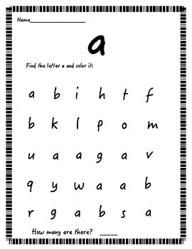 Find the letter! (lowercase letters)