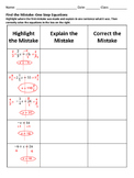 Find the mistake One Step Equations