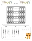 French Number Practice - Mystery Picture 100s chart
