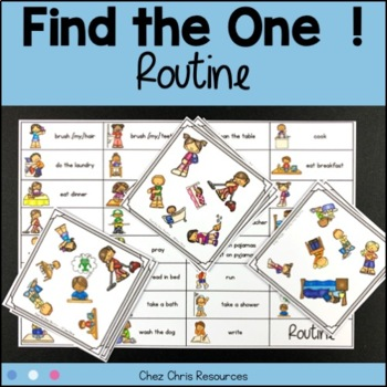 Find the one !   Action verbs: Routine  + flashcards