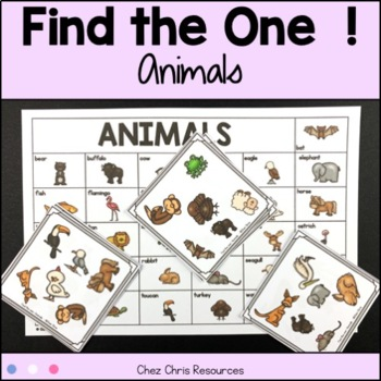 Find the one !  Animals + flashcards