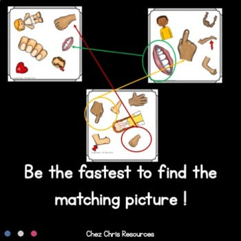 Find the One ! Body Parts  + Flashcards