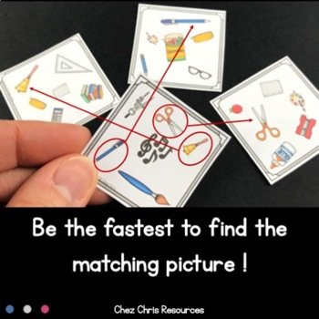 Find the one !  School things  + flashcards