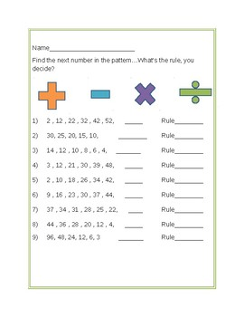 Find the pattern (What's my rule?)