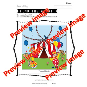 Find the rabbit at the circus - Easter themed Handwriting Game, Grade 1 to 6.