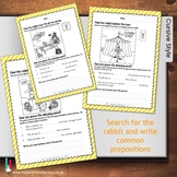 Find the rabbit in the circus and write common prepositions