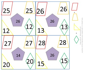 1st gr & 2nd gr Math Calendar - Find the rule, 2D shapes, fact families