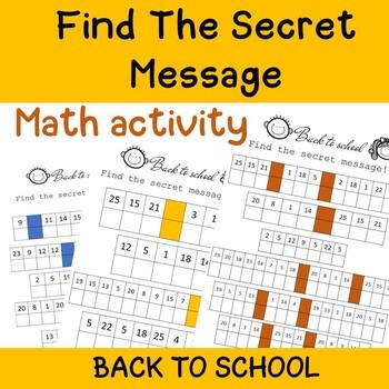 Secret message - math activity for back to school
