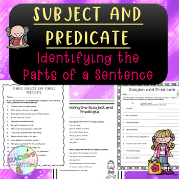 No-Prep Simple Subject and Predicate - Understanding