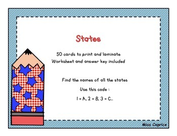 Find the states - Task cards - Miss Caprice