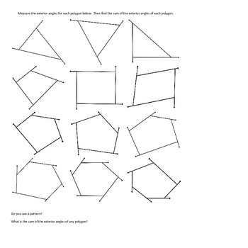 Exterior Angles of a Polygon- Geometry Activity ~Finding the Sum