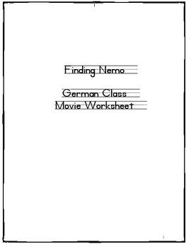 (GERMAN LANGUAGE) Finding Nemo  Video Guide