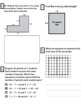 Finding AREA / Multiplication and Division Assessment *