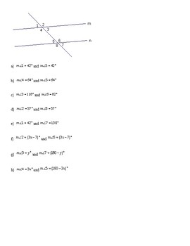 Finding Angles Measures with Transversals Worksheet