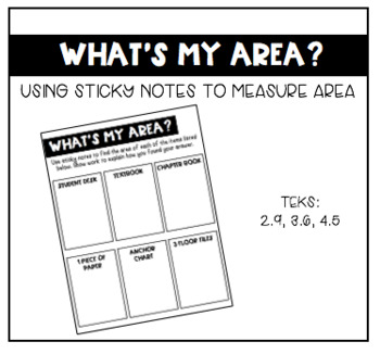 "Finding Area Around the Classroom- ""What's My Area?"" Activity"
