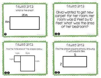 Finding Area Task Cards for 3rd Grade
