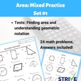 Finding Area Mixed Practice Worksheet - Set #1