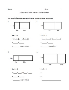Distributive Property Area Model Worksheet | Teachers Pay ...