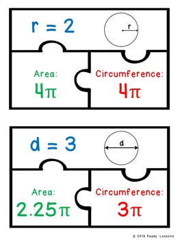 Finding Area and Circumference of Circles Activity Puzzles 7th Grade Math 7.G.4