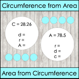 Finding Area from Circumference and Vice Versa