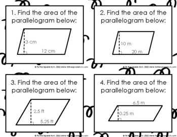Finding  Area of Parallelograms Task Cards