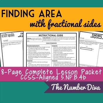 Finding Area of Rectangles with Fractional Sides, 8 page Practice Packet + Quiz