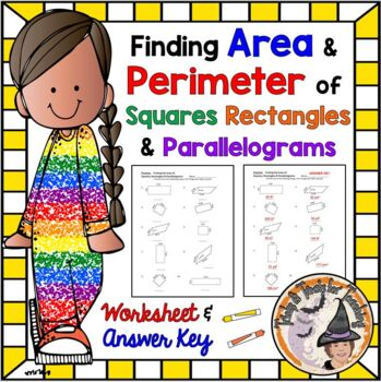 Finding Area of Squares, Rectangles, and Parallelograms Practice Worksheet & KEY