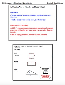 Finding Area of Triangles and Quadrilaterals (Lesson with Homework)