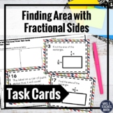 Finding Area with Fractional Sides Task Cards Activity 5.NF.4b