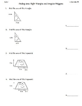 Finding Area: Right Triangles and Irregular Polygons- 6.G.1