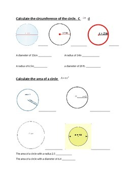 Finding Circumference and Area