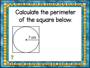 Finding Circumference of Circle Task Card & Worksheet (32 Q)