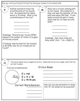 Circumference of Circles - Practice Worksheet