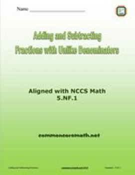 Finding Common Denominator to Add and Subtract Fractions Bundle- 5.NF.1