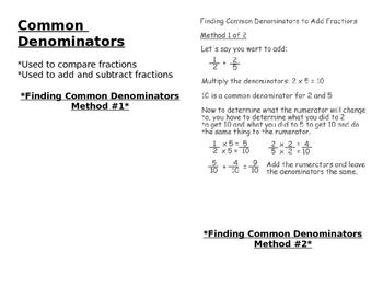Finding Common Denominators
