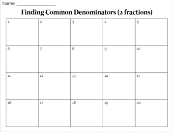 Finding Common Denominators Fraction Task Cards