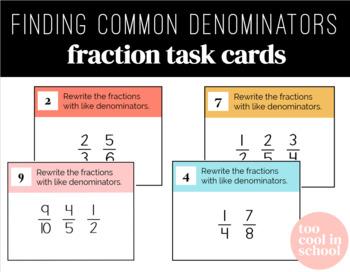 Finding Common Denominators Fraction Task Cards