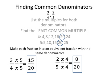 Finding Common Denominators Poster by Jade Brown | TpT