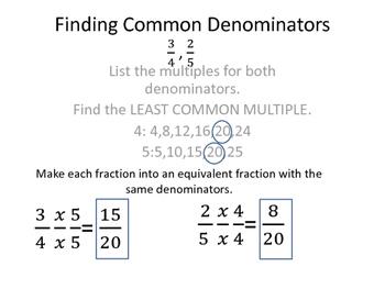 Finding Common Denominators Poster