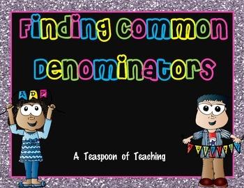 Finding Common Denominators Task Cards