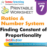 Finding Constant of Proportionality Printable Worksheet, Grade 7