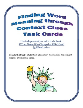 Finding Context Clues Task Cards SCOOT