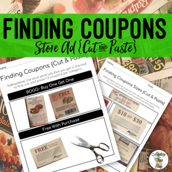 Finding Coupons in Store Ads {Cut & Paste} - Life Skills Weekly Circular Money