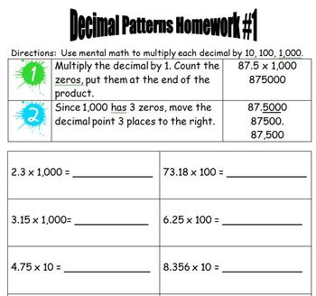 Finding Decimal Patterns - Multiplying by 10, 100, and 1,000.