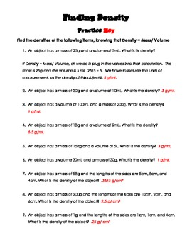 Finding Density Practice Worksheet and Quiz