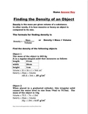 Finding Density Worksheets (Two versions with keys)